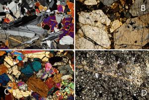 Overzicht van achondrieten. (A) Eucriet met naaldachtige plagioklaas kristallen (Tirhert), (B) Grote pyroxeen kristallen van een diogeniet (NWA 4034), (C) Pyroxenen (augiet) en olivijn kristallen in een Mars meteoriet (NWA 998), (D) Plagioklaas (anorthosiet) en smelt ader in Maan meteoriet (NWA 482). Werkelijke afmetingen van het beeldveld in elk van de foto's is 2,25mm bij 1,5 mm.