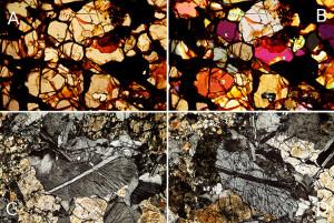 De informatie die je uit een slijpplaatje haalt met een petrografische microscoop. (A) en (B) zelfde deel van een slijpplaatje, (A) zonder polarisatie filter = werkelijke kleuren, (B) met polarisatie filter waardoor de interferentie kleuren dichtbaar worden. Aan de hand van deze kleuren kan bepaald worden welke mineralen te zien zijn. (C) en (D) geven wederom hetzelfde deel weer van een slijpplaatje, dit keer met polarisatie filter bij verdraaien van de objecttafel. De kleur van de baan in het midden van het kristal veranderd door de verdraaiing van lichtgrijs naar zwart. Werkelijke afmetingen van het beeldveld in elk van de foto's is 2,25 mm bij 1,5 mm. (Foto: Zenit/Gert Jan Netjes)